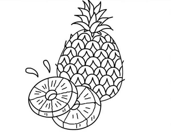 A Juicy Slice of Pineapple Coloring Page: A Juicy Slice of