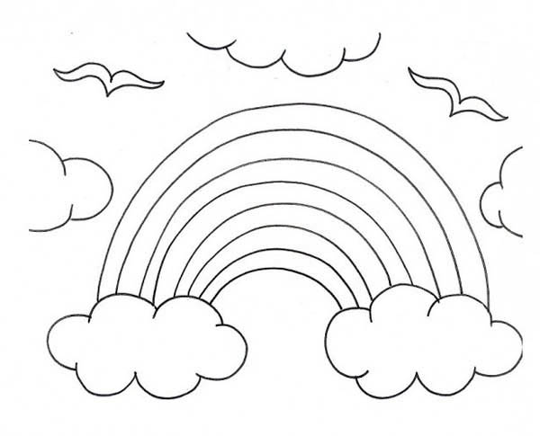 A Kids Drawing of Rainbow Over the Clouds Coloring Page: A