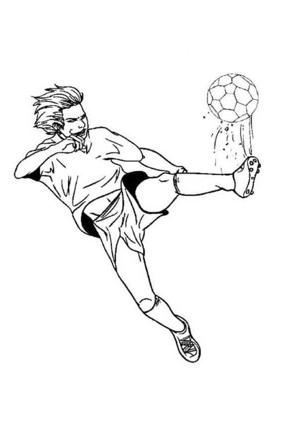 A Profesional Soccer Player Doing A Hard Kick Coloring