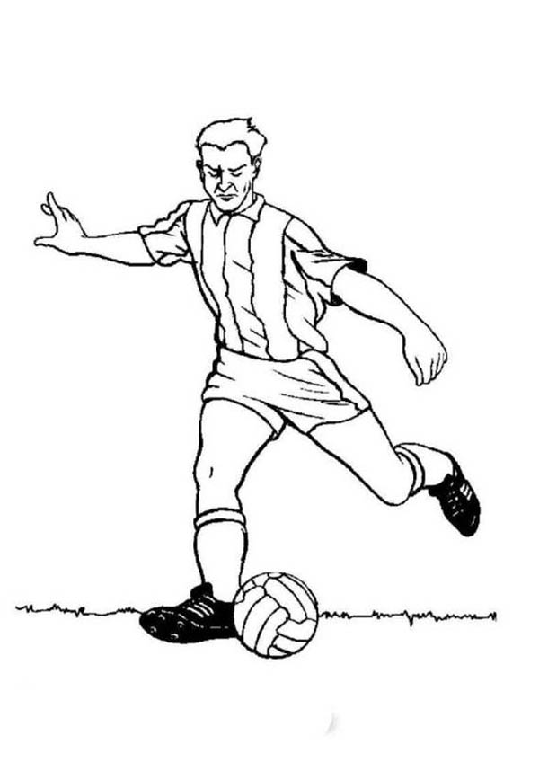 A Profesional Soccer Player Doing A Long Pass Coloring