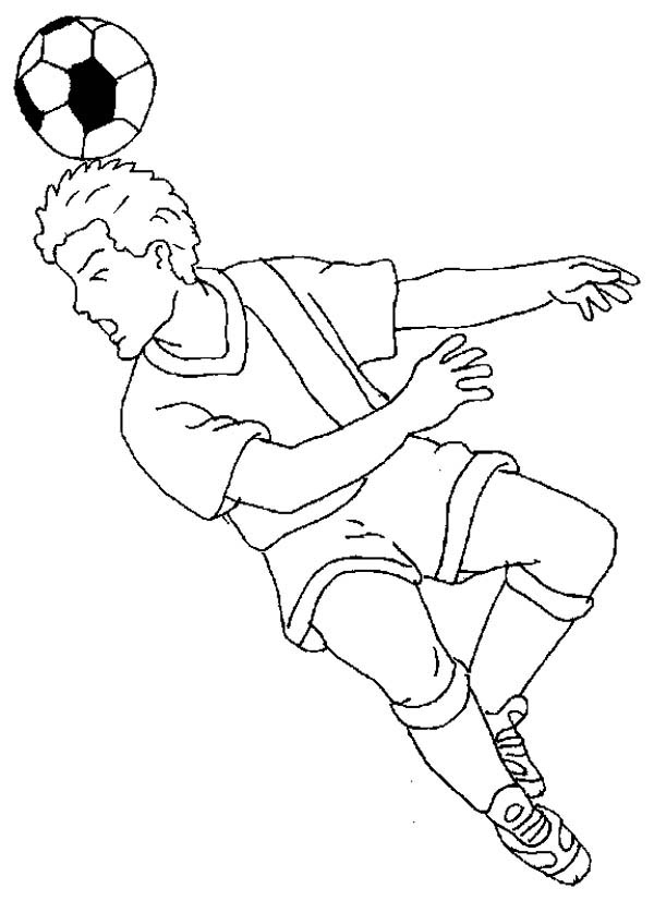 A Soccer Player Doing a Heading to Make a Goal Coloring