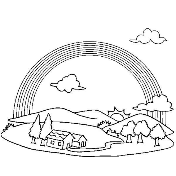 A Wonderful View Of Rainbow Over A Small Village Coloring