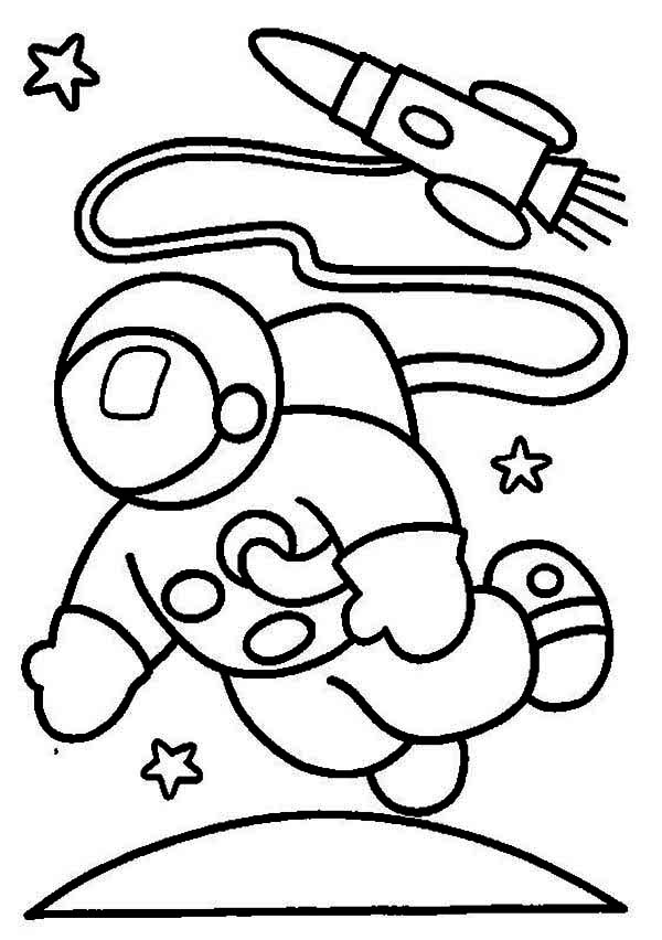 An Astronaut in the Moon Orbit Coloring Page: An Astronaut