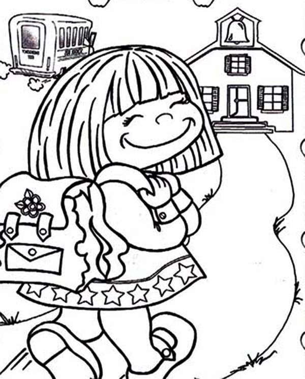 Cute Little Girl on Her First Day of School Coloring Page