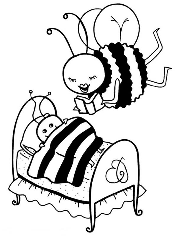 Mother Bumblebee Read a Story to Her Kid Coloring Page