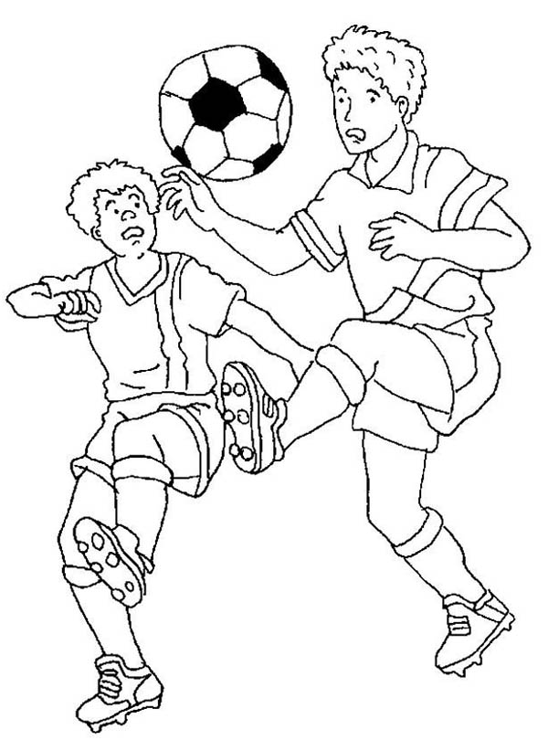 Soccer Players Fighting To Handle The Ball Coloring Page