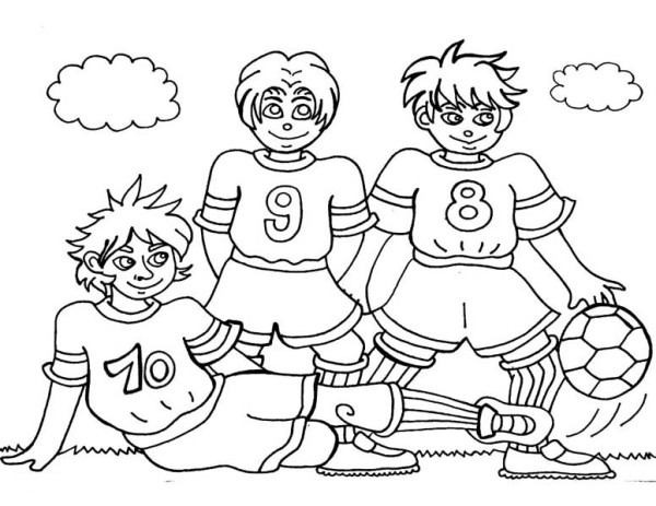 Three Soccer Player Making a Team Pose Before the Game