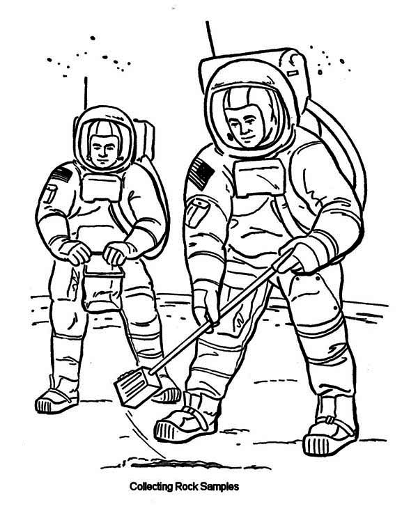 Two Astronauts Collecting Rock Samples From Moon Soil