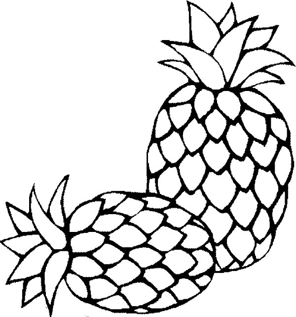 Two Fresh Sugarloaf Pineapple Coloring Page: Two Fresh