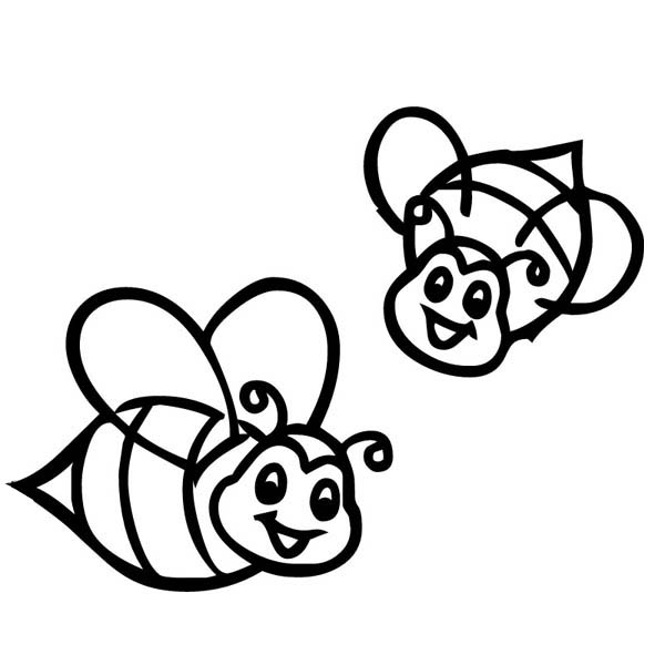 Two Smiling Bumblebee on the Farm Coloring Page: Two