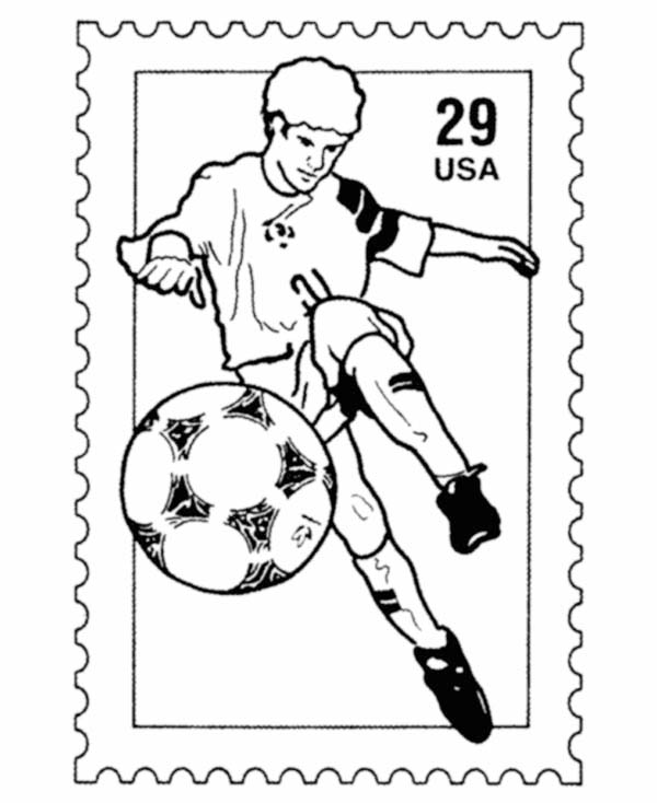 USA National Soccer Team in a Stamp Coloring Page