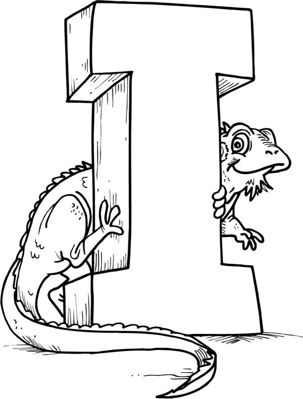 green iguana with letter I coloring page for kids: green