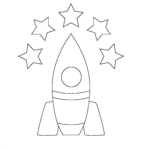 5 star rocket ship coloring page: 5-star-rocket-ship
