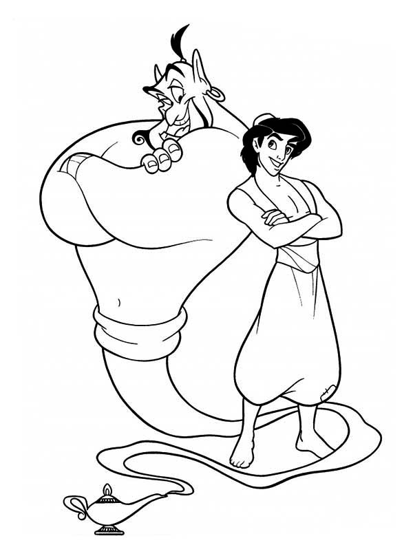 Aladdin And Genie The Two Buddies Coloring Page