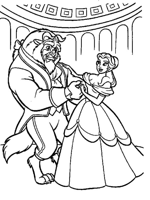 Belle Teach the Beast How to Dance Coloring Page: Belle