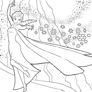 Elsa Running on the Frozen Lake Coloring Page: Elsa