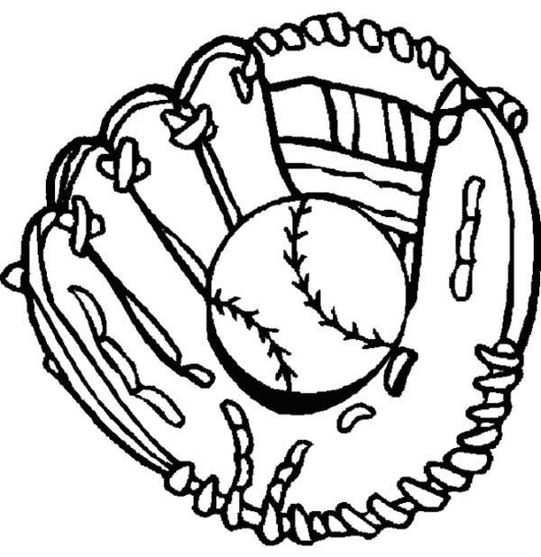 Glove and Baseball Coloring Page: Glove and Baseball