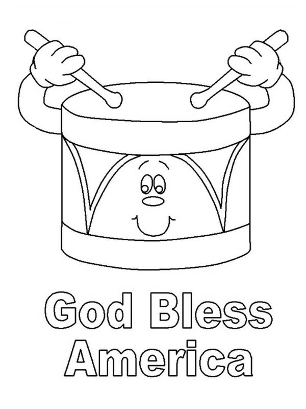 God Bless America on Presidents Day Coloring Page