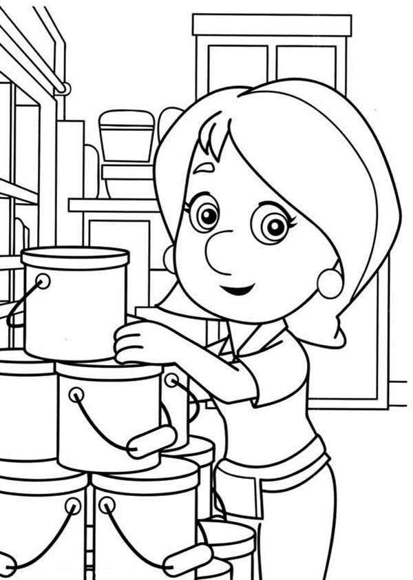 Handy Manny Kelly and Stack of Bucket Coloring Page