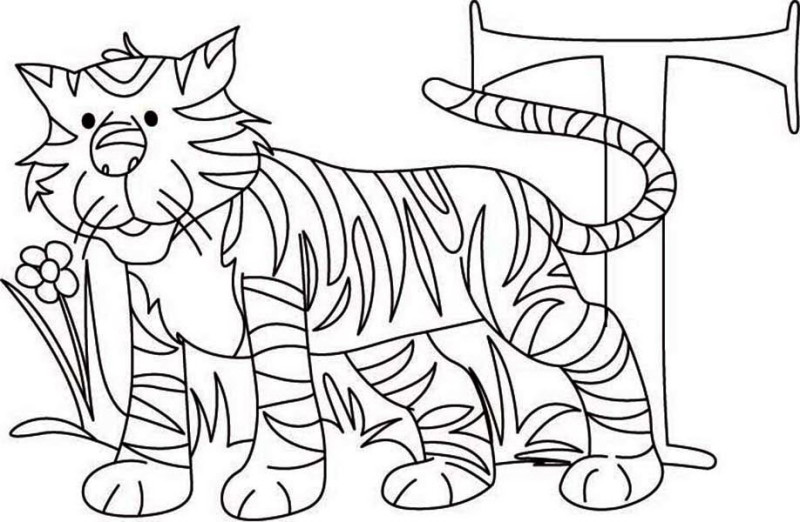 Learn Letter T for Tiger Coloring Page: Learn Letter T for
