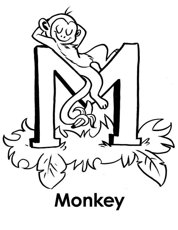 Monkey sleeps on Letter M coloring page: Monkey-sleeps-on