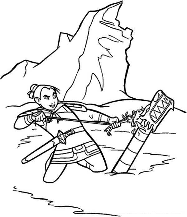 Mulan Try to Ignite the Bamboo Canon Coloring Page