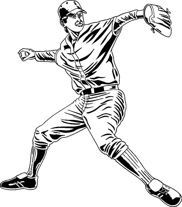 Professional Baseball Player Coloring Page: Professional