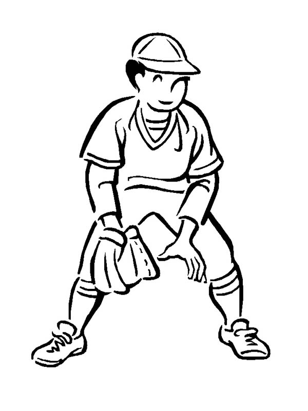 Second Base Baseball Player Coloring Page: Second Base