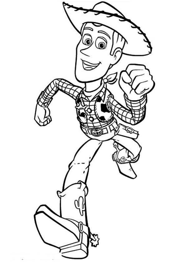 Woddy is Running to Save Buzz in Toy Story Coloring Page