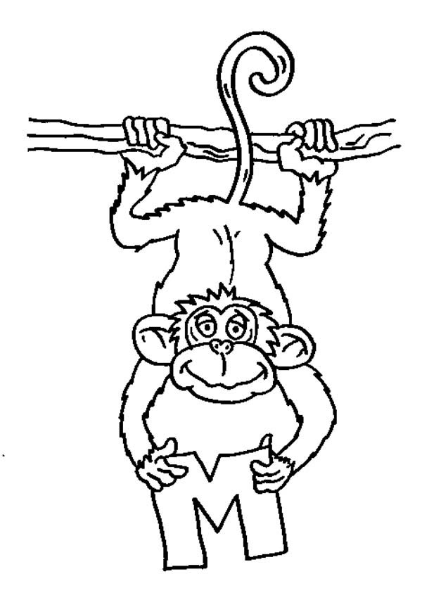 a monkey catching letter M coloring page: a-monkey