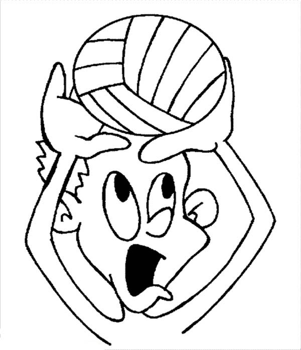 funny kids playing volleyball coloring page: funny-kids