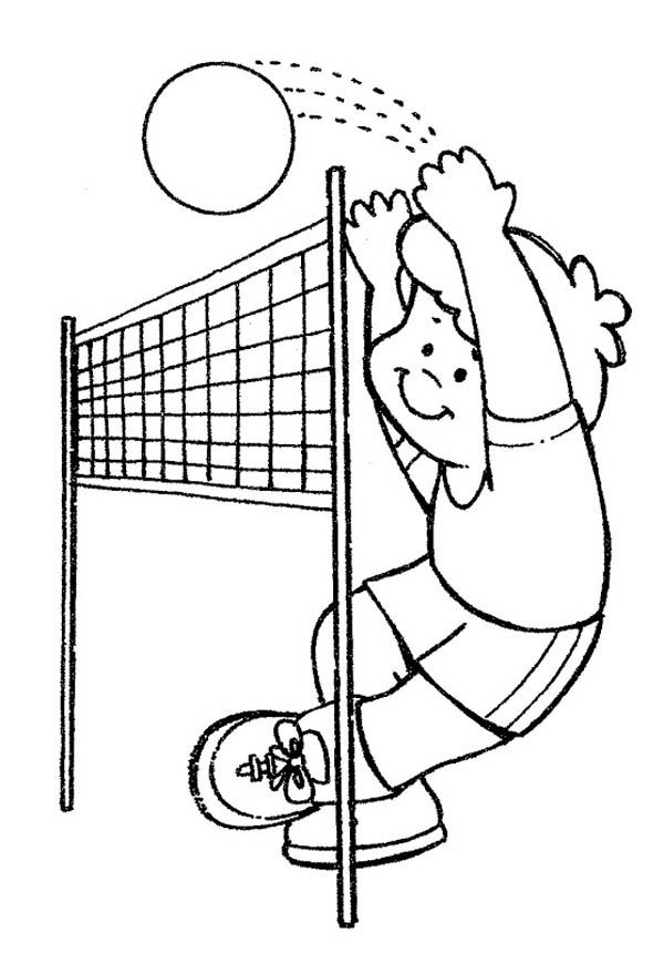 practice volleyball coloring page: practice-volleyball