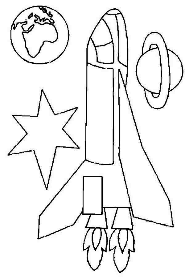rocket ship earth and saturn coloring page: rocket-ship