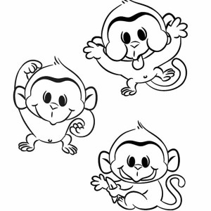 monkey hanging on a tree coloring page: monkey-hanging-on