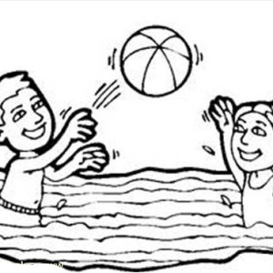 Volleyball, Volleyball In A Swimming Pool Coloring Page