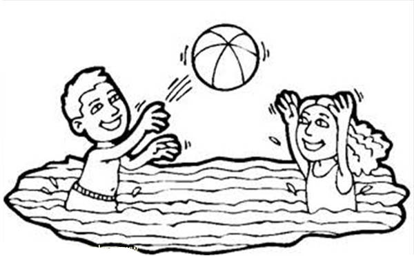 volleyball in a swimming pool coloring page: volleyball-in