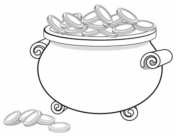 A Giant Pot of Gold Full of Coins Coloring Page: A Giant