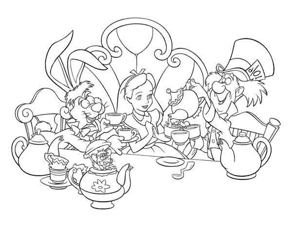 Alice and Mad Hatter and White Rabbit Drink Tea in Alice