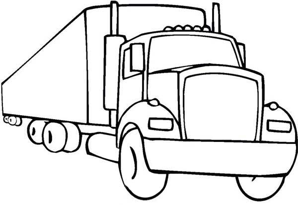 An 18 Wheeler Semi Truck Illustration Coloring Page
