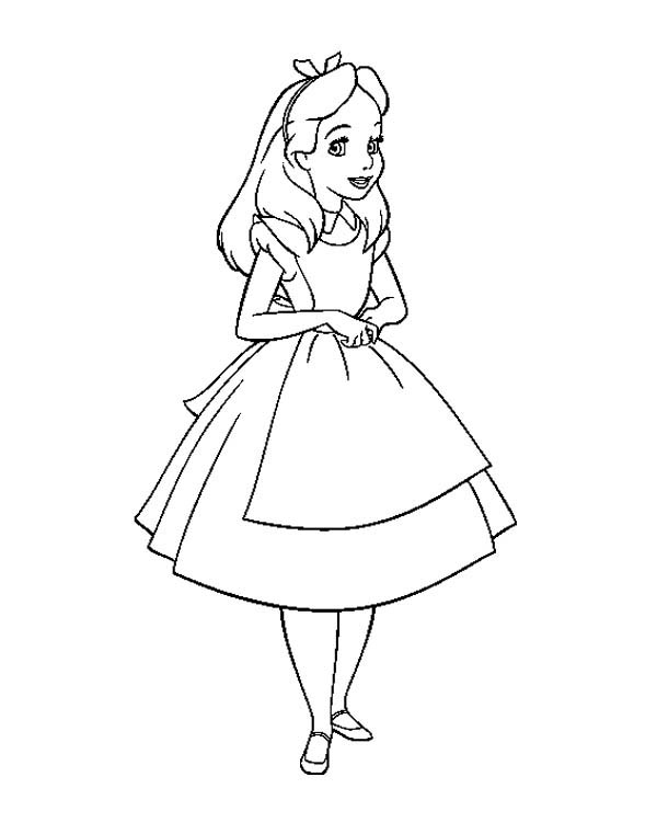 Beautiful Alice in Wonderland Coloring Page: Beautiful