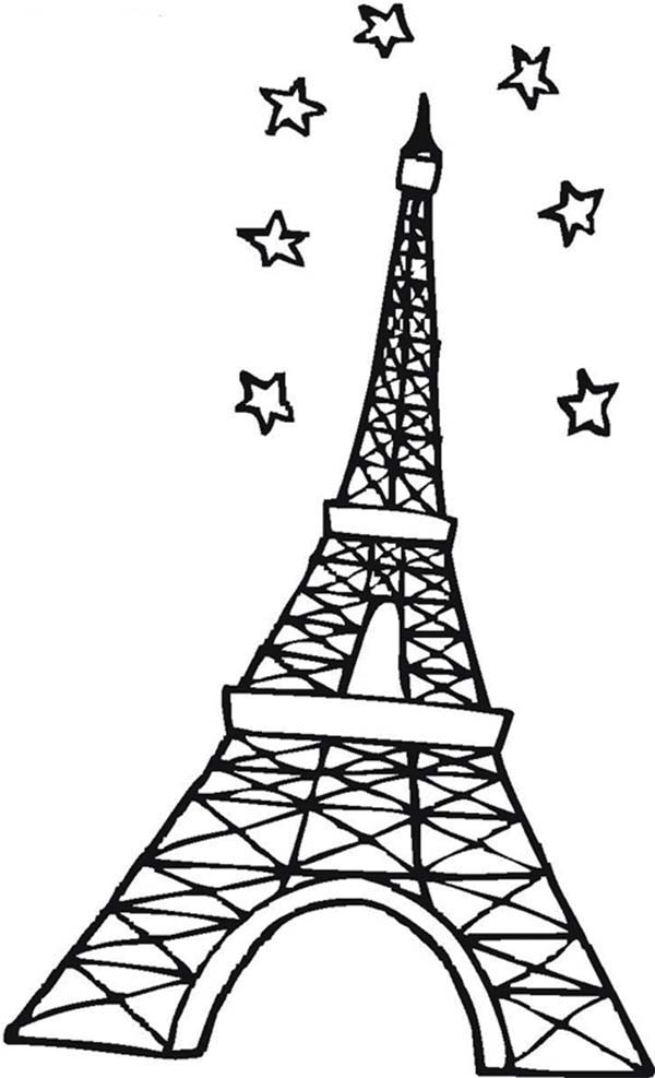 Eiffel Tower and Stars in the Sky Coloring Page: Eiffel