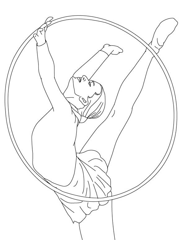 Hoop Gymnastic Athlete Coloring Page: Hoop Gymnastic