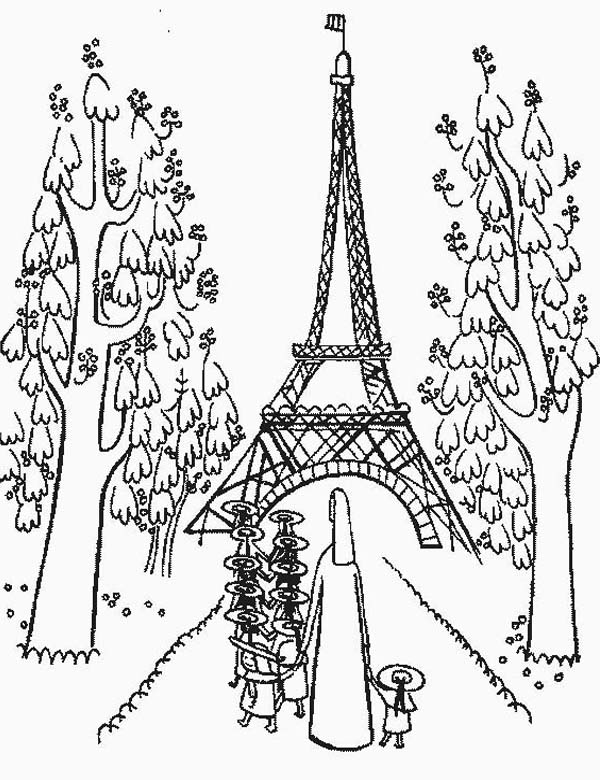 Kindergarden Holiday at Eiffel Tower Coloring Page