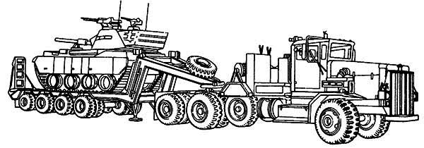 M911 Tractor Truck With A HET Semitrailer In Semi Truck