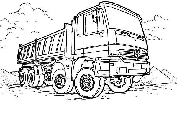 Mercedes Dump Truck in Semi Truck Coloring Page: Mercedes
