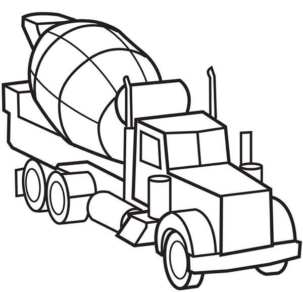 Picture of Cement Truck Semi Truck Coloring Page