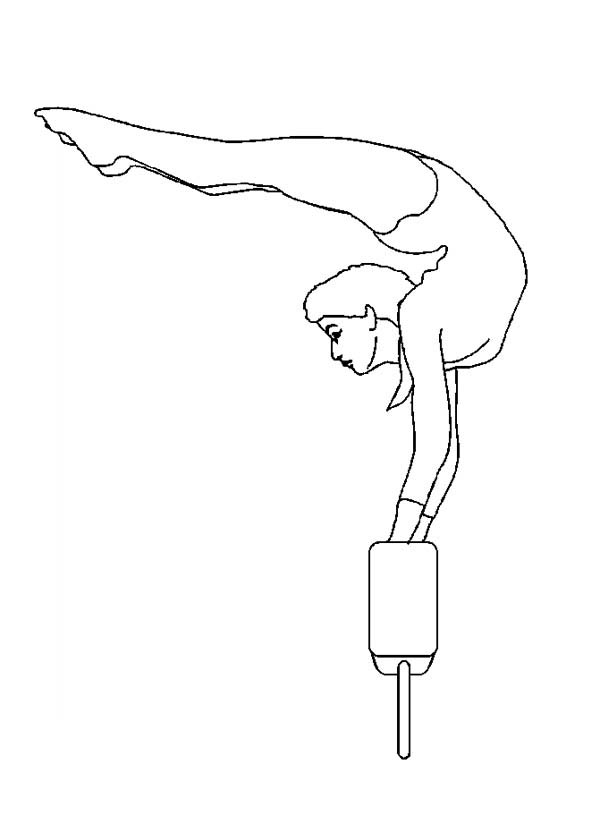 Practicing Balance Beam Gymnastic Coloring Page