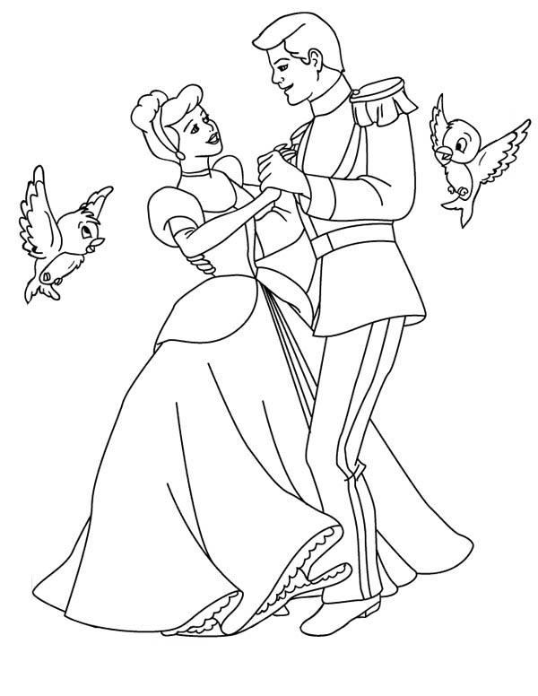 Cindrella Outline For Colouring Disney Cinderella Coloring