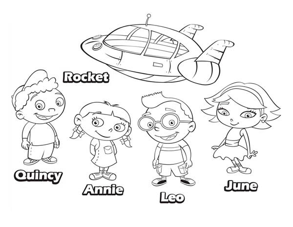 Quincy Leo Annie June and Rocket in Little Einsteins