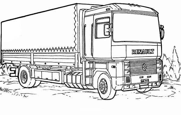 Renault Semi Truck Coloring Page: Renault Semi Truck